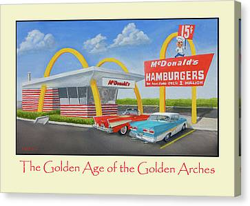 Hamburger Canvas Print - The Golden Age Of The Golden Arches Poster by Jerry McElroy