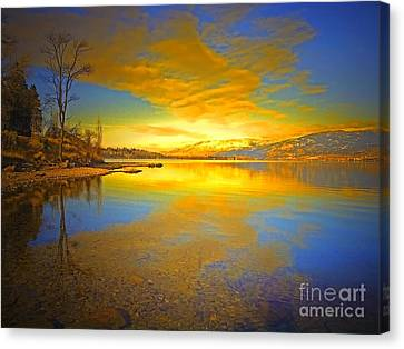 Penticton Canvas Print - The Golden Clouds Of Winter by Tara Turner