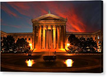 The Golden Columns - Philadelphia Museum Of Art - Sunset Canvas Print by Lee Dos Santos
