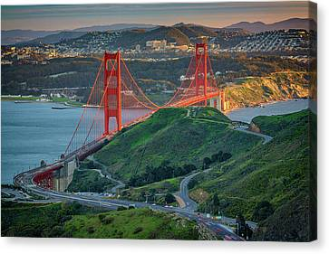 The Golden Gate At Sunset Canvas Print by Rick Berk