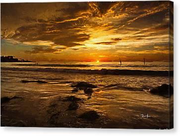 The Golden Hour At La Jolla Shores Canvas Print by Russ Harris