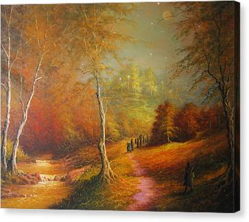 Golden Forest Of The Elves Canvas Print