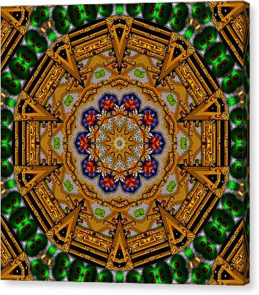 The Golden Sacred Mandala In Wood Canvas Print