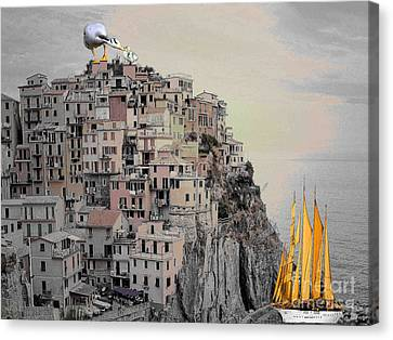 Canvas Print featuring the painting The Golden Sails by Mojo Mendiola