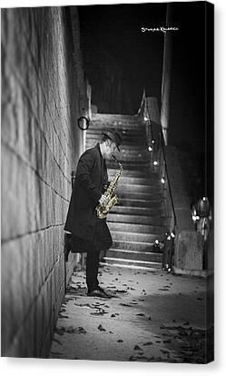 The Golden Saxophone Player Canvas Print by Stwayne Keubrick
