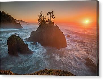 Canvas Print featuring the photograph The Golden Sunset Of Oregon Coast by William Lee