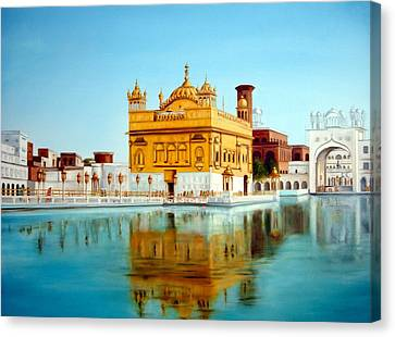 Sikh Art Canvas Print - The Golden Temple Amritsar India  by Sukhpal Grewal