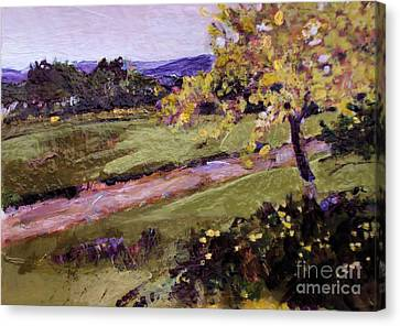 Canvas Print featuring the painting The Golden Tree by Diane Ursin
