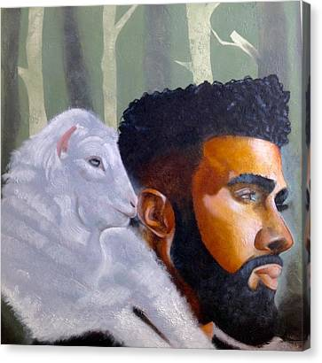 Canvas Print featuring the painting The Good Shepherd  by Christopher Marion Thomas