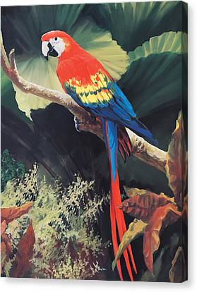 Parrots Canvas Print - The Gossiper by Laurie Hein
