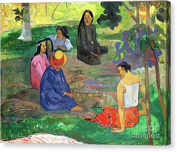 Conversing Canvas Print - The Gossipers by Paul Gauguin