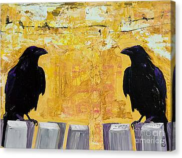 Mix Medium Canvas Print - The Gossips by Pat Saunders-White