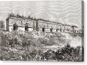The Governor S Palace, Uxmal, Mexico Canvas Print by Vintage Design Pics