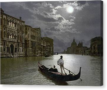 The Grand Canal Venice By Moonlight Canvas Print by Italian School