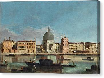 The Grand Canal With The Church Of San Simeone Piccolo Canvas Print by Celestial Images