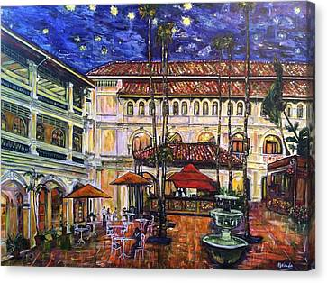 The Grand Dame's Courtyard Cafe  Canvas Print by Belinda Low
