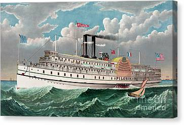 The Grand New Steamboat Pilgrim Canvas Print by Currier and Ives