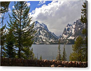 The Grand Tetons And The Lake Canvas Print by Susanne Van Hulst