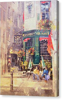 Woman Drinking Canvas Print - The Grapes by Peter Miller