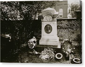 The Grave Of Edgar Allan Poe Canvas Print by Nat Herz