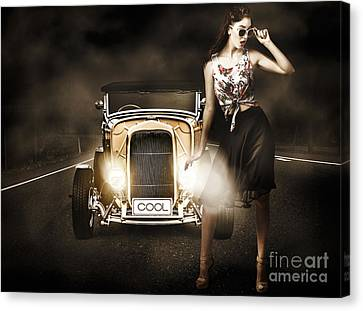 Sexy Brunette Women Canvas Print - The Greaser Rockabilly Pinup by Jorgo Photography - Wall Art Gallery
