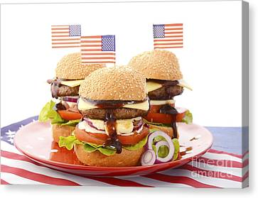 The Great Bbq Hamburger With Flags Canvas Print by Milleflore Images
