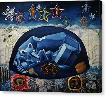 Canvas Print featuring the painting The Great Bear Sleeps At The Edge Of The World by Dawn Senior-Trask