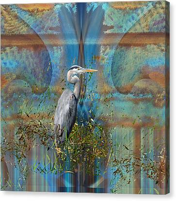 The Great Blue Heron In Abstract Canvas Print