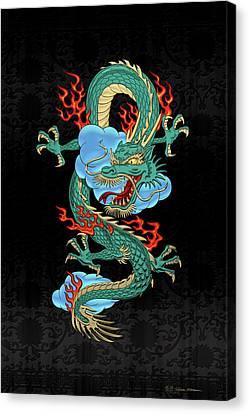 The Great Dragon Spirits - Turquoise Dragon On Black Silk Canvas Print by Serge Averbukh