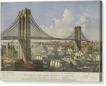 The Great East River Suspension Bridge Canvas Print by Currier and Ives