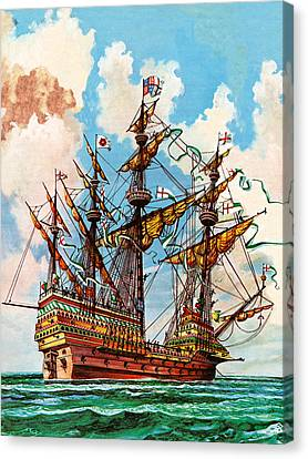 Water Vessels Canvas Print - The Great Harry, Flagship Of King Henry Viii's Fleet by Peter Jackson