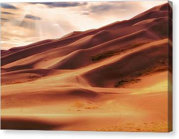 Canvas Print featuring the photograph The Great Sand Dunes Of Colorado - Landscape - Sunset by Jason Politte