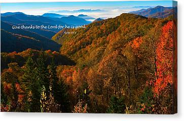 The Great Smoky Mountains Psalm 107 Verse 1 Canvas Print