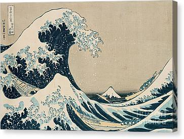 Shower Canvas Print - The Great Wave Of Kanagawa by Hokusai