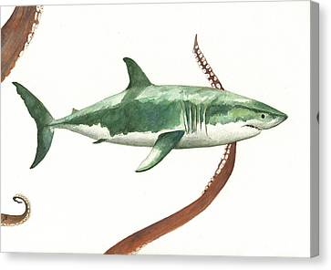 The Great White Shark And The Octopus Canvas Print by Juan Bosco