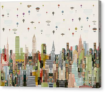 Canvas Print featuring the painting The Great Wondrous Balloon Race by Bri B