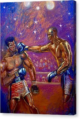 the Greatest  Muhammed Ali vs Jack Johnson Canvas Print by Tommy  Winn