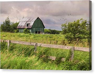 The Green Barn Canvas Print by Lori Deiter
