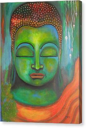Canvas Print featuring the painting The Green Buddha by Prerna Poojara