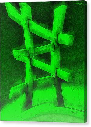 The Green Fence - Da Canvas Print by Leonardo Digenio