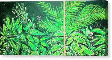 Canvas Print featuring the painting The Green Flower Garden by Darren Cannell