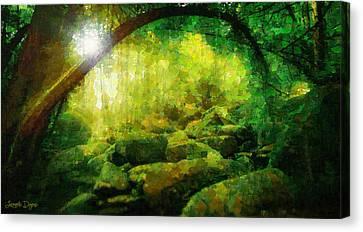 The Green Forest - Pa Canvas Print by Leonardo Digenio