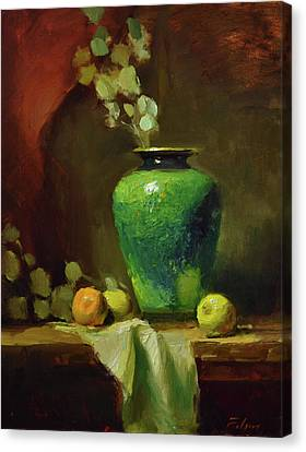 The Green Jardiniere Canvas Print by Kelli Folsom