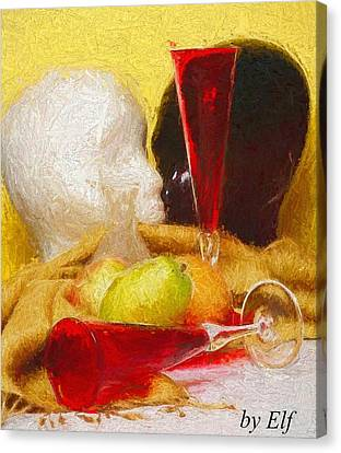 Canvas Print featuring the digital art The Green Pear by Elf Evans