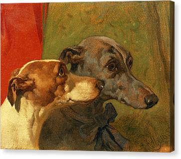 The Greyhounds Charley And Jimmy In An Interior Canvas Print by John Frederick Herring Snr