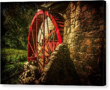 The Gristmill's Waterwheel Canvas Print by Christine Annas