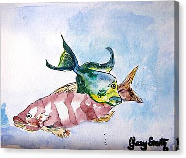 Canvas Print featuring the painting The Grouper And Friend by Gary Smith