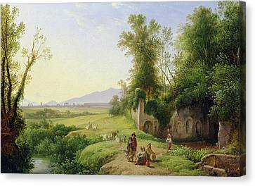 The Grove Of Egeria  Canvas Print by Franz Ludwig Catel
