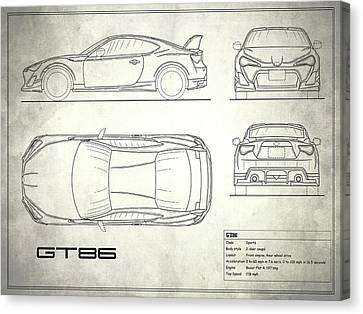 The Gt86 Blueprint - White Canvas Print by Mark Rogan