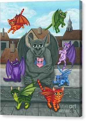 The Guardian Gargoyle Aka The Kitten Sitter Canvas Print by Carrie Hawks